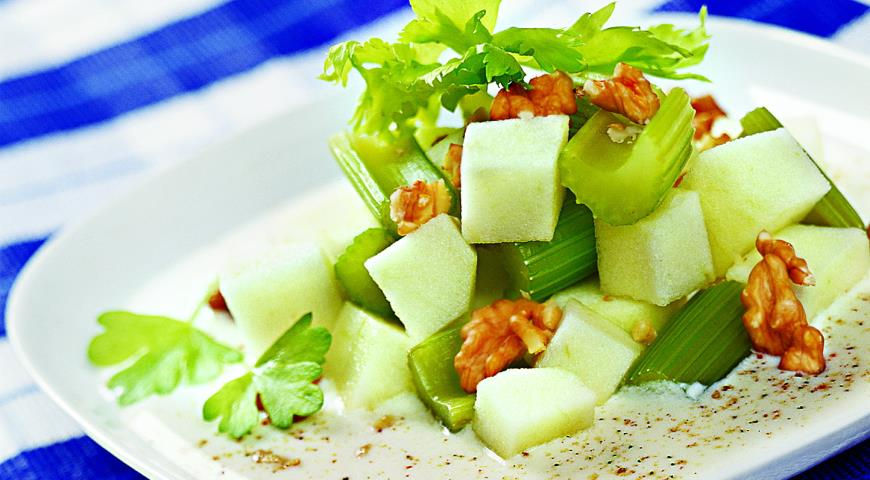 Apple Salad with Celery and Nuts