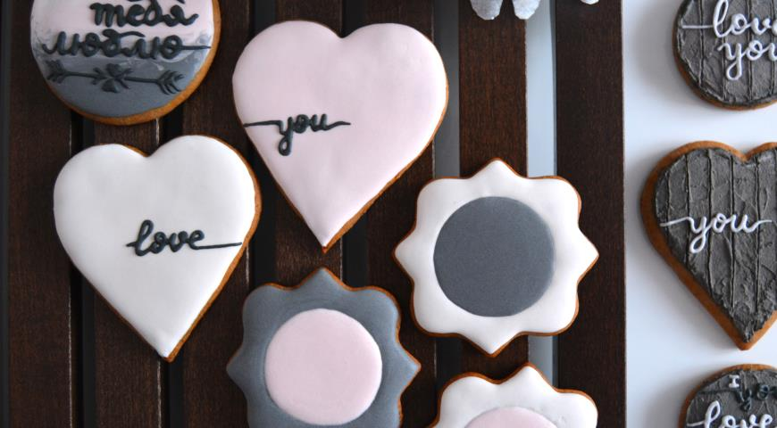 Rustic gingerbread with wood decor and lettering