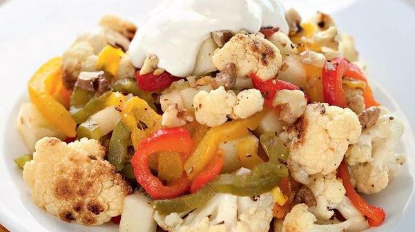 Cauliflower and Baked Pepper Salad with Walnuts