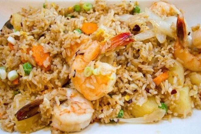 Rice With Shrimps And Ginger In A Pan
