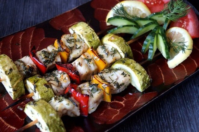 Fish Kebabs With Zucchini And Pepper