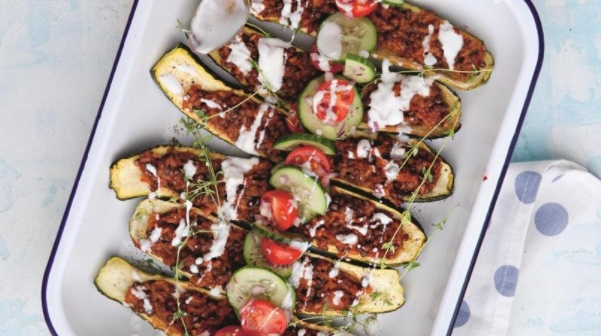 Zucchini Stuffed with Lentils and Rice