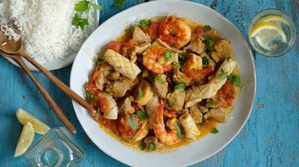 Turkey and Seafood Surf & Turf with Tomatoes and Curry