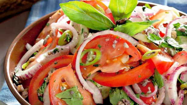 Summer Salad of Tomatoes and Cucumbers