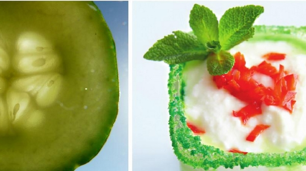 Cucumber Gazpacho with Wasabi and Celery Puree