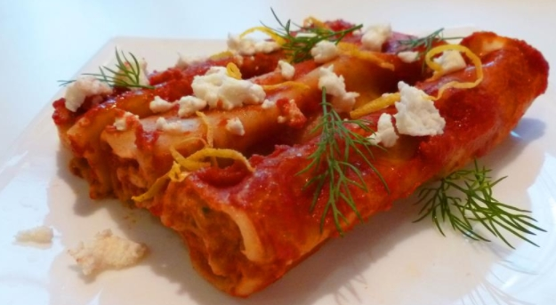 Cannelloni with Fish, Mushrooms and Adyghe Cheese