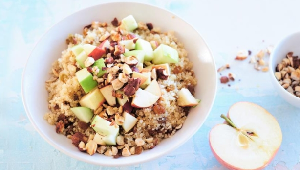Morning Bowl with Quinoa, Apples and Hazelnuts