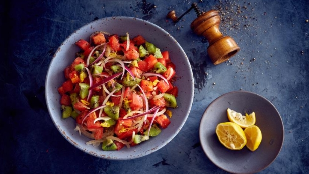 Tomato and Kiwi Salad with Hot Peppers
