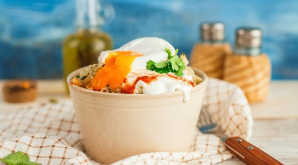 Spicy Rice with Poached Egg and Yogurt