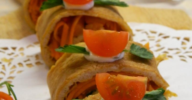 Egg Roll with Salmon and Pickled Carrots