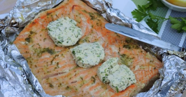 Charcoal Salmon with Green Oil