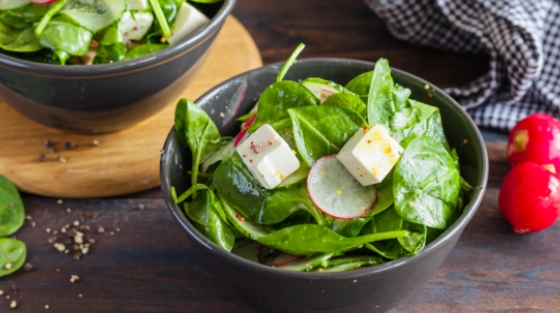 Spinach and Radish with Mustard Dressing