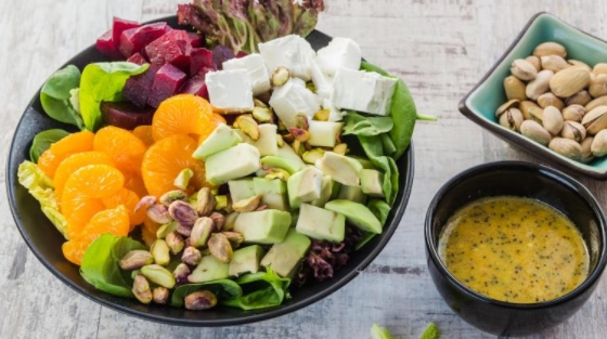 Beetroot, Tangerine and Avocado Salad with Poppy Dressing