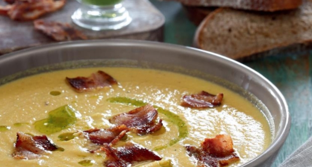 Baked Vegetable Soup with Bacon and Green Butter