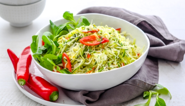 Cabbage and Cucumber Salad with Mint