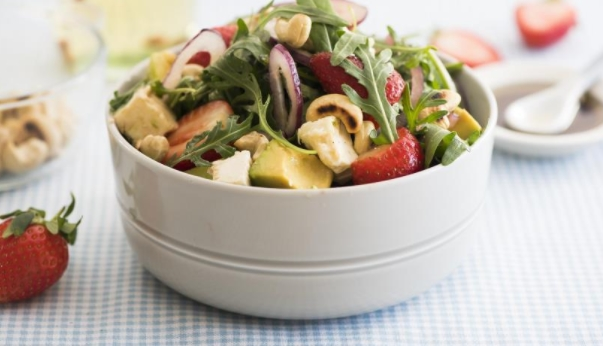 Salad with Strawberries, Avocado and Rucola