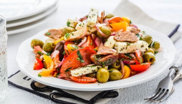 Tomato Salad with Adyghe Cheese