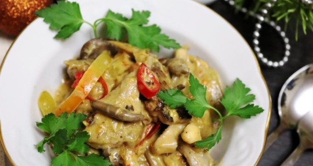 Oyster Mushrooms with Eggplant Stewed in Coconut Milk