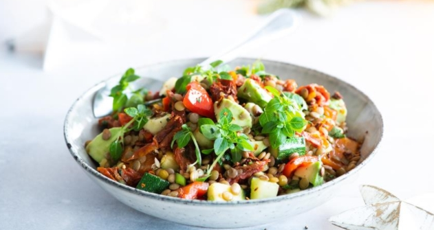 Lentil Salad with Baked Peppers and Basil by Gordon Ramsay