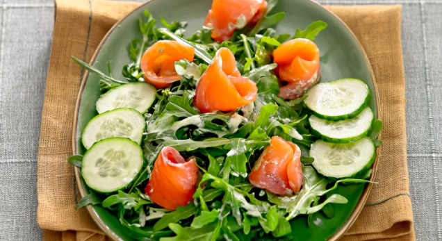 Salad with Cucumbers and Smoked Salmon