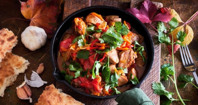 Turkey with Vegetables in a Pan