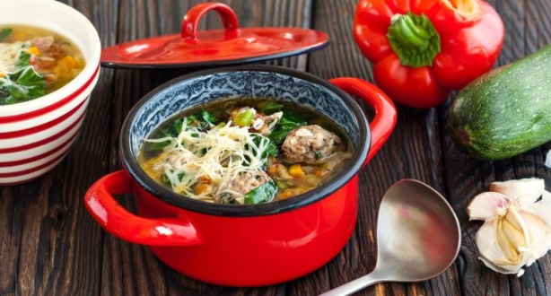 Hearty Vegetable Minestrone with Barley and Meatballs
