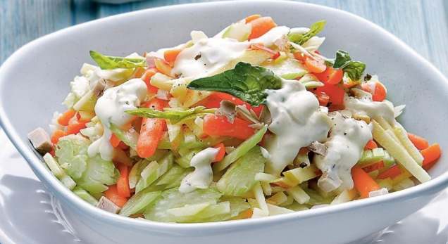 Celery Salad with Carrots and Meat Dressing