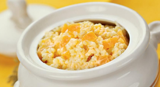 Millet Porridge with Pumpkin in a Pot