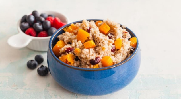 Barley Porridge with Baked Pumpkin and Cranberries