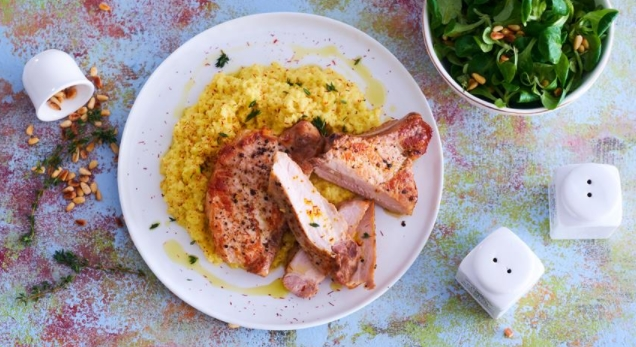 Pork Chops and Wheat Porridge