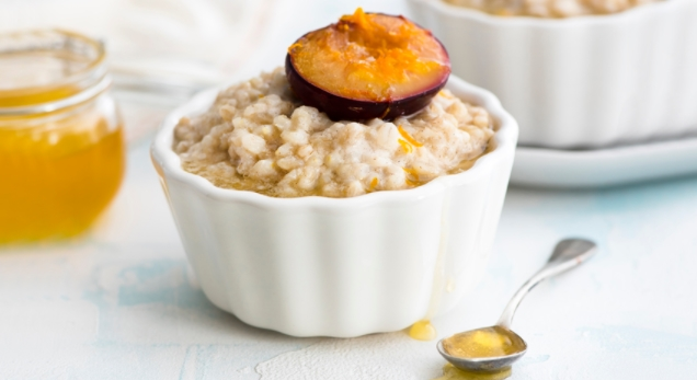 Barley Porridge on Nut Milk with Plums