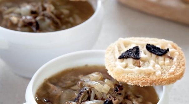 Onion Soup with Morels and Cheese Croutons