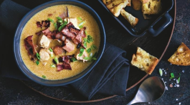 Cheese Soup with Chicken and Brisket
