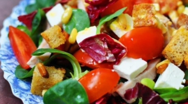 Salad with Cherry, Feta, Lamb, Pine Nuts in a Mix Salad