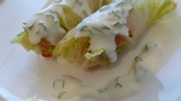 Steam Rolls with Fish and Vegetables and Yoghurt Sauce