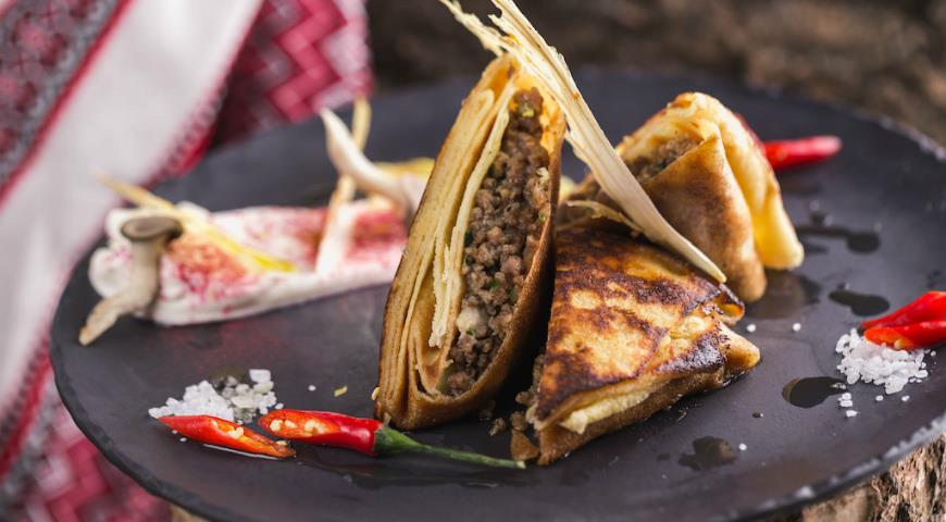 Pancakes with Beef and Oyster Mushrooms