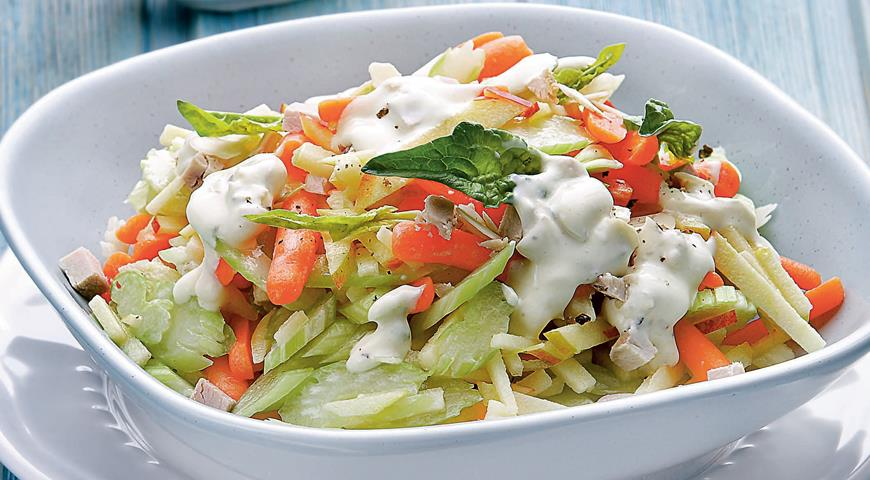 Celery Salad with Meat Dressing and  Carrots