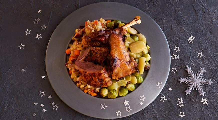 German Christmas Goose with Apples and Brussels Sprouts