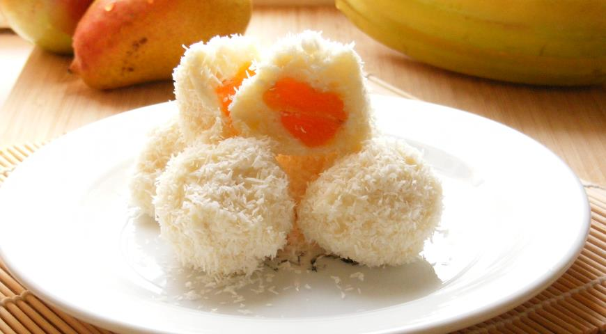 Curd Balls with Dried Apricots in Coconut Flakes