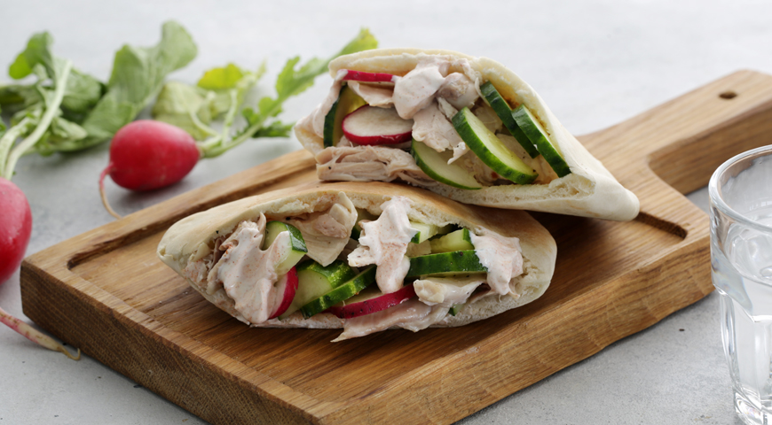 Pita with Chicken for Breakfast