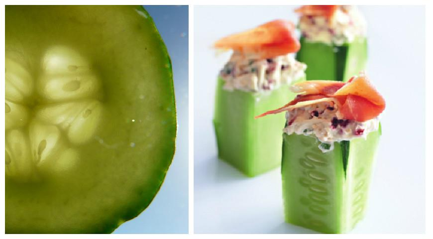 Cucumbers Stuffed with Goat Cheese, Hazelnuts and Ham