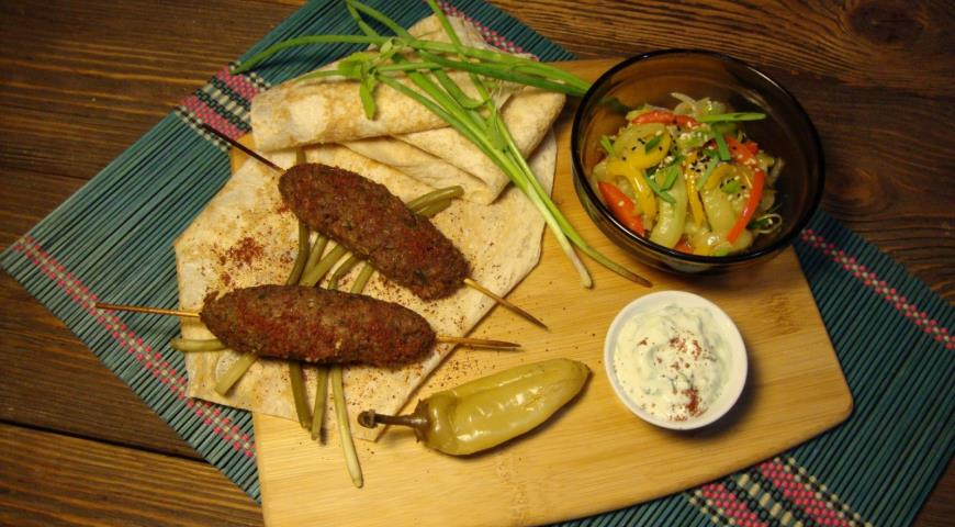 Beef Kabob with Tsakhton Sauce and Korean Style Cucumbers