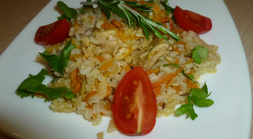 Pilaf with Rabbit Meat and Brown Rice