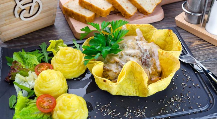 Beef Stroganoff with Mushrooms in a Creamy Sauce