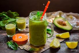 Fruit smoothie with avocado and spinach