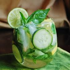Vodka-based cocktail with mint and cucumber