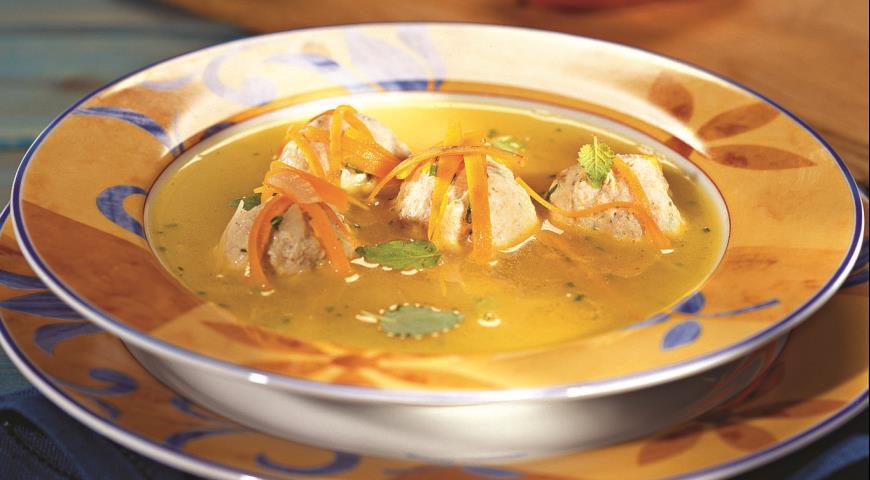 Italian soup with meatballs