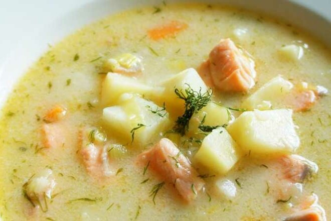 Fish soup with milk dressing