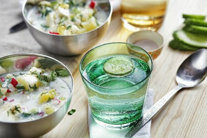 Vegetarian okroshka with kefir