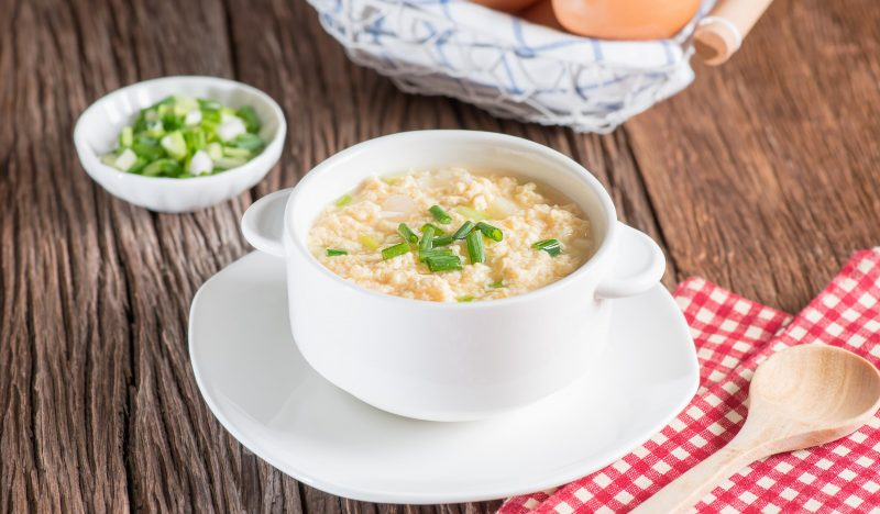 Light soup with egg and sour cream